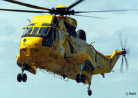 ZE368 @ EGQS - Scanned from print. 202 Sqn Seaking HAR.3 ZE368 landing at its base at RAF Lossiemouth, Jul '92 - by Clive Pattle