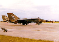 68-0141 @ EGVI - Scanned from print. GD F-111D Aardvark 68-141 coded CC of USAF 27th TFW pictured at IAT Greenham Common May '79. Pictured in rear are fellow Sqn stablemate 68-122 and (in distance) 68-0080/UH of 20th TFW at Upper Heyford. - by Clive Pattle