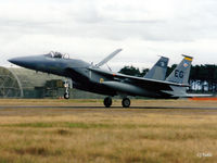 80-0026 @ EGQL - Scanned from print. F15C Eagle 80-0026 coded EG of USAF 59FS 33FW lands at RAF Leuchars for the airshow Sep '95. - by Clive Pattle