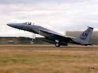 86-0147 @ EGQL - Scanned from print - F-15C Eagle 86-0147/LN of USAF 493FS 48FW from RAF Lakenheath lands at RAF Leuchars for the BoB Airshow Sep '95 - by Clive Pattle