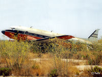 C-FITH @ LMML - Scanned from print. Dakota C-FITH at the International Fire Training Centre, Hal Far (disused), Malta in '94. Later saved for preservation. ICAO LMML used for reference/search purposes only. - by Clive Pattle