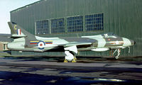 XF974 @ EGDX - Hawker Hunter F.4 [HABL003129] (Royal Air Force) RAF St. Athan~G 20/09/1975. From a slide.
