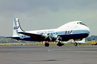 G-AXAI @ EGMC - Aviation Traders ATL.98 Carvair [17] (British Air Ferries) Southend~G 03/07/1974. From a slide.