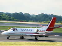 G-JBLZ @ EGCC - Taxy to ramp after arrival at Manchester EGCC - by Clive Pattle