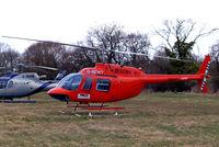 G-BEWY @ EGBC - Bell 206B  Jet Ranger II [348] Cheltenham Racecourse~G 12/03/2009. Now with white skids.