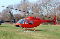 G-BEWY @ EGBC - Bell 206B  Jet Ranger II [348] Cheltenham Racecourse~G 14/03/2012. Polo logo removed.