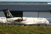 5X-UGG @ LFRU - Canadair Regional Jet CRJ-200ER, BritAir parking area, Morlaix-Ploujean airport (LFRU-MXN) - by Yves-Q