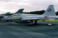 909 @ EGQL - Scanned from print. Northrop F-5B of RNoAF of 336 Skv at RAF Leuchars Airshow '95 - by Clive Pattle