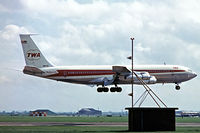 N8733 @ EGLL - Boeing 707-331B [20062] (TWA) Heathrow~G 1970 . Year approximate. Taken from a slide. On finals 28R
