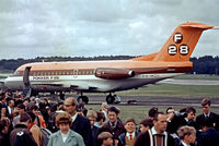 PH-MOL @ EGLF - Fokker F-28-1000 Fellowship [11003] (Fokker) Farnborough~G 13/09/1970. Taken from a slide.