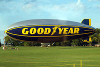 N3A @ KOSH - Goodyear Blimp GZ-20A [4118] (Goodyear Tire & Rubber Co) Oshkosh-Wittman Regional~N 30/07/2008. Slight reflection from the interior of the coach as we drove by.