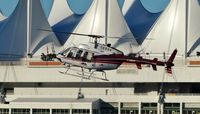 C-FAVY @ CBC7 - Valley Helicopters Bell 407 just arriving at Vancouver Harbour Heliport. - by M.L. Jacobs