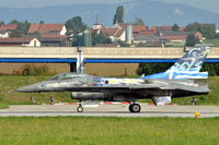 505 @ LSMP - F-16C-52 with conformal fuel tanks of the Air Force of Greece on the runway of Payerne Air Base, Switzerland, for a display (AIR14). Note that ZEUS is painted on its tail. - by Henk van Capelle
