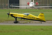 D-EMKF @ LFPB - XtremeAir Sbach 300, Taxiing after landing, Paris-Le Bourget Air Show 2013 - by Yves-Q