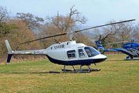 G-FEZZ @ EGBC - Agusta-Bell AB.206B Jet Ranger II [8317] (Helicopter Services) Cheltenham Racecourse~G 14/03/2012