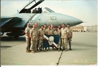 164350 - F-14D 164350 A/C 103  assigned to Fighter Squadron TWO (VF-2 Bounty Hunters ) deployed with CV-64 at Al Jaber Air Base Kuwait. VF-2's Beach Det led by their MMCO  LT Brian Burns was assigned to repair the  aircraft after sustaining tail hook damage. - by Brian Burns