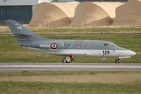 129 @ LFRJ - Dassault Falcon 10MER, Taxiing after landing rwy 26, Landivisiau Naval Air Base (LFRJ) - by Yves-Q
