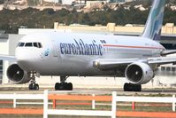 CS-TLO @ LFML - Boeing 767-383ER, Linning up prior take off rwy 31R, Marseille-Provence Airport (LFML-MRS) - by Yves-Q