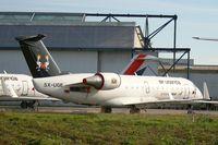 5X-UGE @ LFRU - Canadair Regional Jet CRJ-200ER, BritAir parking area, Morlaix-Ploujean airport (LFRU-MXN) - by Yves-Q