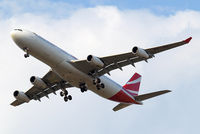 3B-NBJ @ EGLL - Airbus A340-313X [800] (Air Mauritius) Home~G 26/07/2014. On approach 27R.