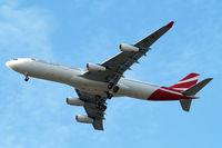 3B-NBJ @ EGLL - Airbus A340-313X [800] (Air Mauritius) Home~G 26/07/2014. On approach 27R. - by Ray Barber