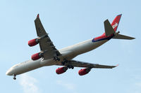 G-VFIT @ EGLL - Airbus A340-642 [753] (Virgin Atlantic) Home~G 26/07/2014. On approach 27R.