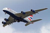 G-XLEE @ EGLL - Airbus A380-841 [148] (British Airways) Home~G 26/07/2014. On approach 27R.