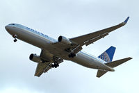 N677UA @ EGLL - Boeing 767-322ER [30029] (United Airlines) Home~G 17/07/2014. On approach 27R.