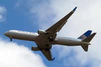 N677UA @ EGLL - Boeing 767-322ER [30029] (United Airlines) Home~G 17/07/2014. On approach 27R. - by Ray Barber