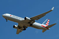 N349UA @ EGLL - Boeing 767-323ER [33088] (American Airlines) Home~G 29/07/2014. On approach 27R.