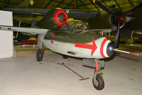 120227 - Built by Heinkel-Nord at Rostock-Marienehe in April 1945 and delivered to II./JG1. This A-2 variant is equipped with two MG151 20mm cannon. Surrendered along with I./JG1 to the Allies at Leck on 6 May 1945.  On display at RAF Museum Hendon. - by Arjun Sarup