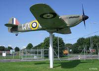 BAPC267 @ EGSU - Hurricane FSM on gate guard duty at the IWM Duxford - by Clive Pattle