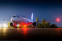 C-GWXZ @ CYMX - Getting ready for Paris, FTV5 is on the ramp during night operations at Bombardier's Mirabel facility. - by Patrick Cardinal