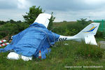 G-CGIZ @ EGCB - wreackage of CGIZ which crashed on landing at Barton - by Chris Hall