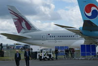 N10187 @ EGLF - Dreamliner Debut at 2012 Fboro airshow in Qatar Livery - by Jetops1
