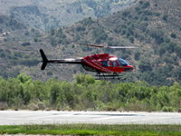 N108LG @ SZP - 1998 Bell 206B JetRanger III, Allison 250 C20B TurboShaft 400 shp flat rated at 317 shp, arrival hover over SZP Helipad - by Doug Robertson