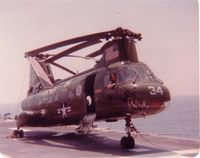 157703 - CH-46F 157703, May 1977, attached to HMH-461 from HMM-162 for Solid Shield '77 aboard USS Guadalcanal, LPH-7 - by Jonathan Primm