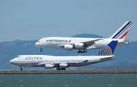 F-HPJA @ SFO - A very different photo of F-HPJA landing at San Francisco. - by Bill Larkins