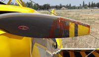 N119CM @ KRHV - A locally based 1987 Christen Eagle II somehow managed to slip off runway 13L at Reid Hillview Airport, CA and ended up crashing into the VASI durning Young Eagles, leaving them with one runway! Paint from the VASI looks like blood on the prop. - by Chris Leipelt