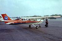 OO-CLO @ EBGT - R/Cessna F.150L [0788] Ghent~OO 14/08/1977. From a slide.