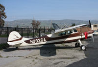 N9826A @ KRHV - Locally-based (at the time) 1950 Cessna 195 @ Reid-Hillview Airport, San Jose, CA - by Steve Nation