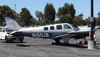 N100JB @ KPAO - Locally-based 1984 Beechcraft A36 (turbine model) sitting at its tie down at Palo Alto Airport, Palo Alto, CA. - by Chris Leipelt