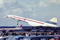 G-AXDN @ EGLF - BAC/SUD Concorde [01] (British Aircraft Corporation) Farnborough~G 08/09/1974. From a slide.