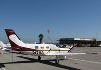 N7SA @ KSQL - 1998 Piper PA-46-350P Malibu Mirage from Ohio parked on visitor's ramp @ San Carlos Airport, CA - by Steve Nation