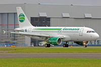 D-ASTB @ EGFF - A319-112, call sign Germania 4848, seen landing on runway 12 out of Gatwick. - by Derek Flewin