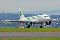 D-ASTZ @ EGFF - A319-112, call sign Germania 6364, previously D-AVXM, OE-LEK, seen landing on runway 12 out of Toulouse Blagnac. - by Derek Flewin