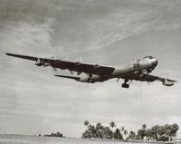 UNKNOWN @ TJFF - Convair RB 36 landing at Ramey AFB in Puerto Rico in the early 50s. Notice one engine is dead. - by S B J