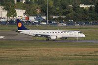 D-AEBP @ LFBO - Embraer ERJ-195LR, Lining up prior take off rwy 14L, Toulouse-Blagnac airport (LFBO-TLS) - by Yves-Q