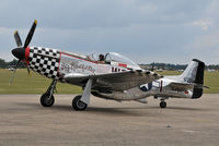 """D-FBBD @ EGSU - Taxiing in at the Flying Legends 2011 Airshow. Painted as Col. J.D. Landers' """"Big Beautiful Doll"""", this Mustang crashed later on in the airshow after being involved in a mid-air collision with Douglas A-1D Skyraider F-AZDP. - by Arjun Sarup"""
