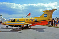 SE-DCW @ EGLF - Learjet 24 [24-109] (Swed Air) Farnborough~G 10/09/1976. From a slide.